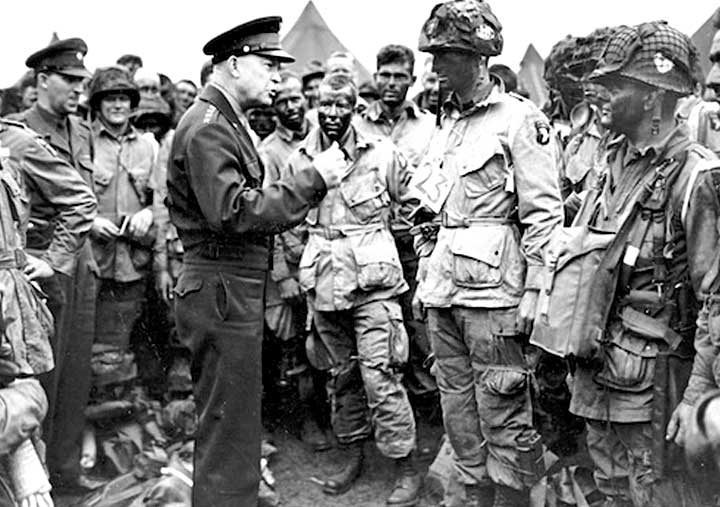 General Eisenhower speaking to WWII soldiers
