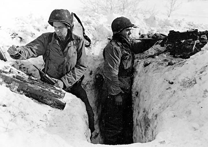 WWII soldiers in a foxhole