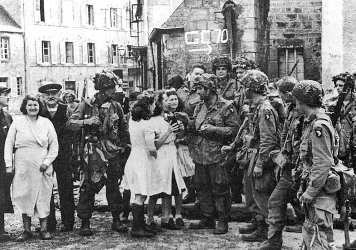 French women greeting Band of Brothers soldiers